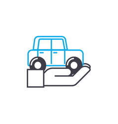 Vehicle insurance thin line stroke icon vector
