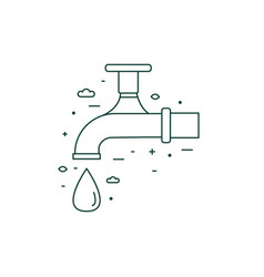 Water saving tap linear icon in line art vector