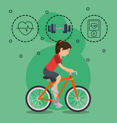 woman in bicycle with sports icons vector image