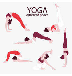 woman yoga set flat bundle female sport exercise vector image