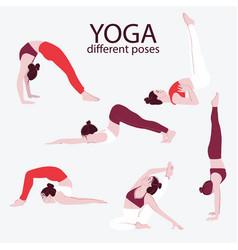 woman yoga set flat bundle female sport exercise vector image