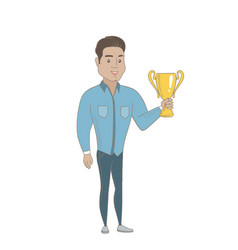 Young hispanic businessman holding a trophy vector