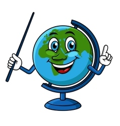 Cartoon globe character with pointer vector image vector image