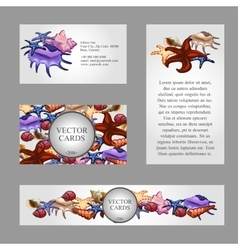Four cards with images of starfish and seashells vector image vector image