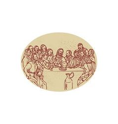Last Supper Jesus Apostles Drawing vector image vector image