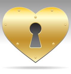 lock shape heart object vector image vector image