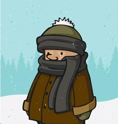 outside winter kid vector image