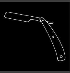 Straight razor white color path icon vector