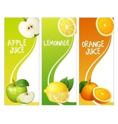 Three vertical banners with apple leon and orange vector image vector image