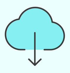 cloud download line icon simple minimal pictogram vector image vector image