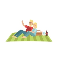 Couple Stargazing On Picnic vector image