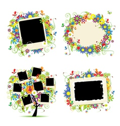 floral photo frame vector image