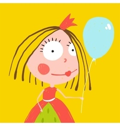 Girl Princess with Balloon and Crown in Beautiful vector image vector image
