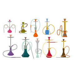 Hookah flat set with pipe for smoking tobacco and vector