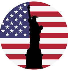 Liberty statue and usa flag vector image