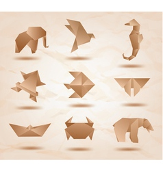 Origami Kraft Animals vector image vector image
