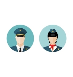 Pilot and stewardess icons vector image vector image