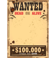 wild west bounty or wanted paper vector image