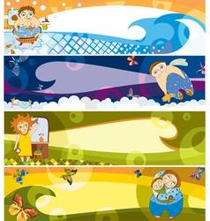 children banner set vector image vector image