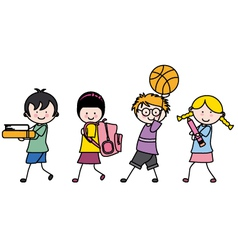 children going to school vector image vector image