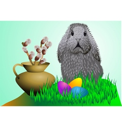 Easter Bunny and eggs vector image vector image