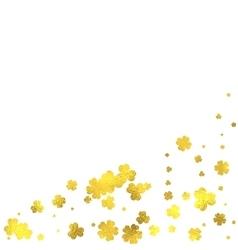 Gold glittering foil flowers on white background vector image
