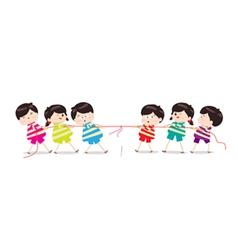 Little Kids playing Tug of War vector image