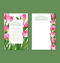 set of vertical banner with pink tulip vector image vector image