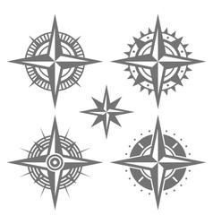 Wind Rose Retro Design Set vector image