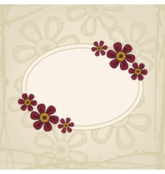 Greeting card with flowers in tattoo style on vector image vector image