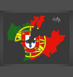 lisboa portugal map with portuguese national flag vector image vector image