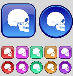 Skull icon sign A set of twelve vintage buttons vector image vector image