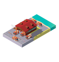 3d isometric fire station municipal vector image