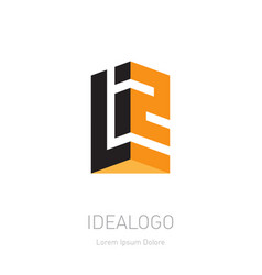 3d logo with letter l and number 2 or monogram vector