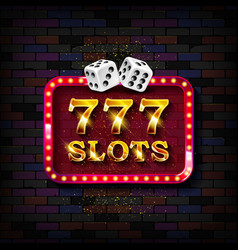 777 slots neon light banner vector image