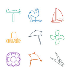 9 wind icons vector