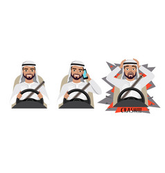 Arab man driving a car man driving a car talking vector
