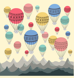 background colourful hot air balloons and vector image