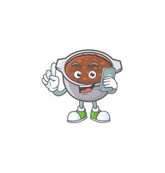 Baked beans in bowl with holding phone mascot vector