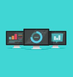 Big data analyze on computers vector