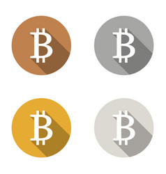 Bitcoin icons bronze gold silver plat shadows set vector