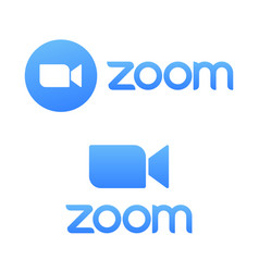 Blue camera icon - zoom app logo - live vector