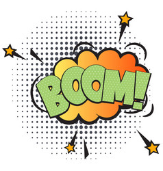 Boom comic speech bubble in pop art style vector