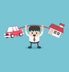 businessman in debt he brings happiness house and vector image
