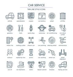 Car service line icon set vector