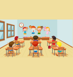 Children playing with puppets classroon scene vector