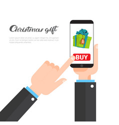 christmas gifts shopping concept hand holding vector image