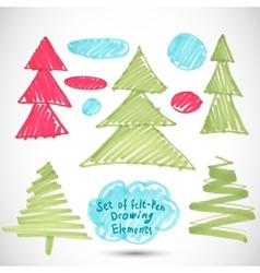 Christmas tree Doodle set felt pen tree vector image