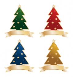 Christmas trees with ribbons vector image