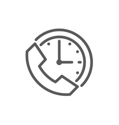 clock with phone support time 24 hours service vector image